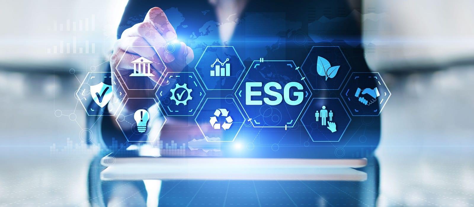 ESG Environment social governance investment business concept on screen