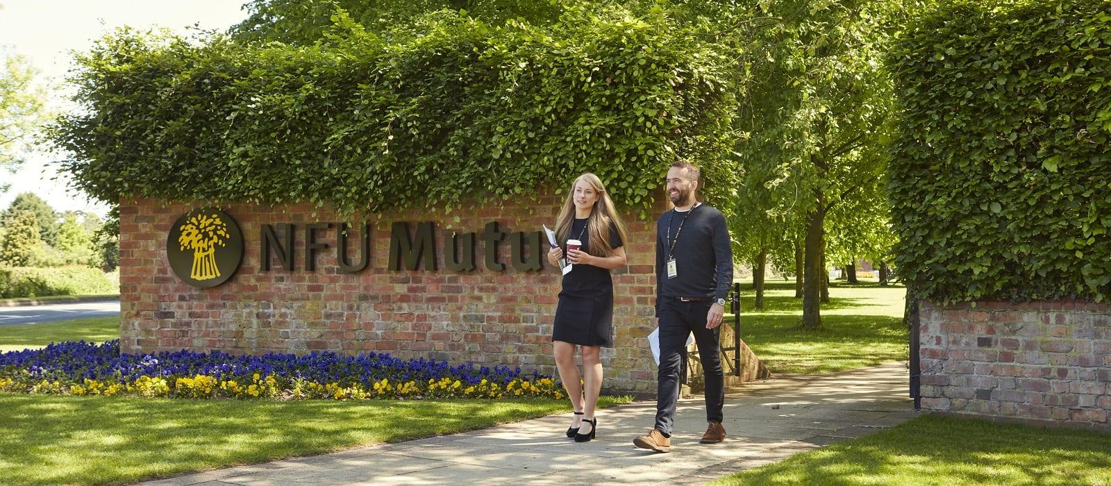 NFUM staff walking through grounds. Internal photoshoot 2018