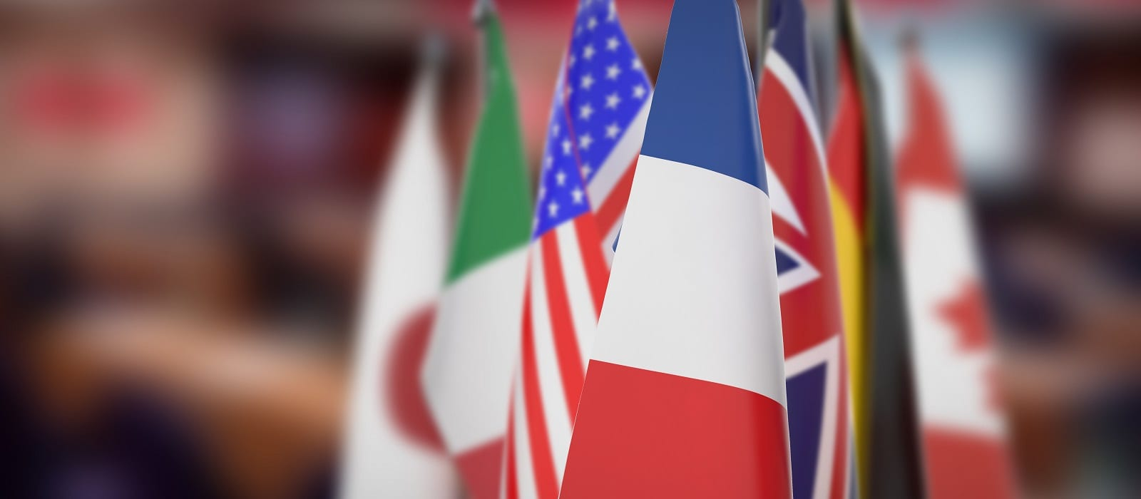 Flags of G7 members isolated with blur
