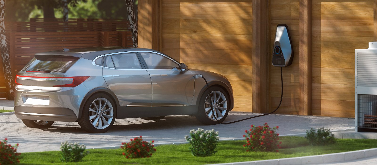 electric car suv parked in front of home modern low energy suburban house