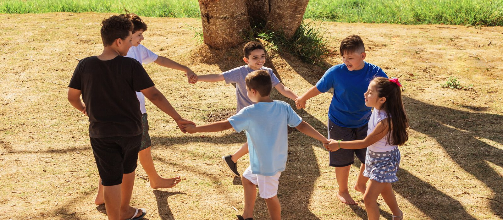 group of kids playing and having fun